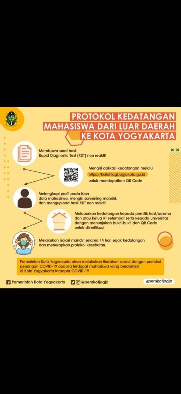 Protokol Kedatangan Mahasiswa Dari Luar DIY Ke Kota Yogyakarta